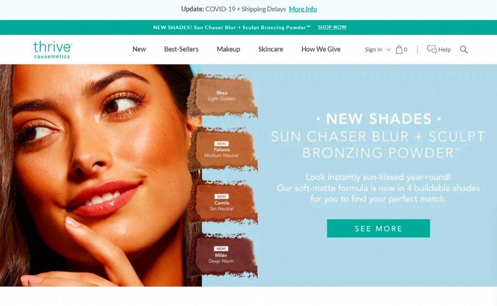ShopifyでのECサイト成功例2:Thrive Causemetics